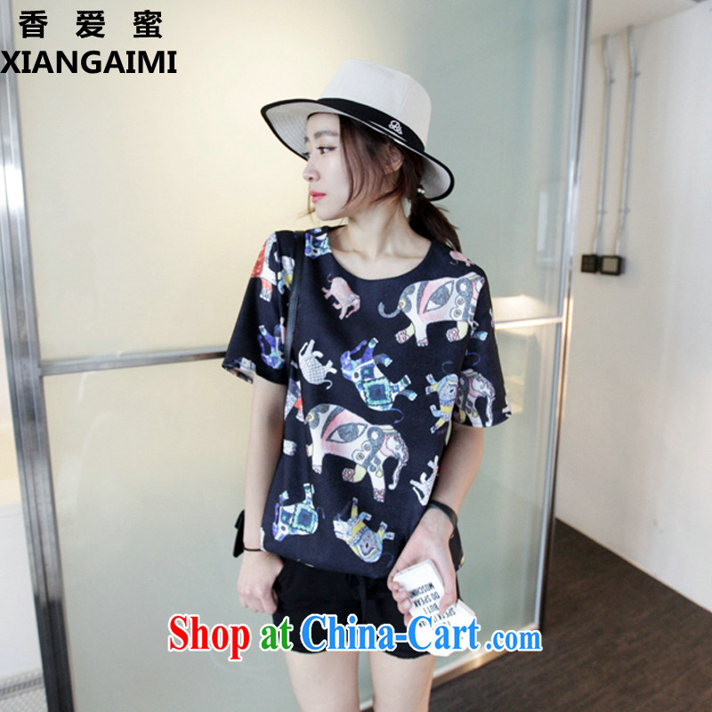 Fragrant Honey Love 2015 the Code women Jack 200 mm thick king in long T shirt solid shirt stamp loose summer clothes female black XXXL _recommendations 165 - 200 jack_