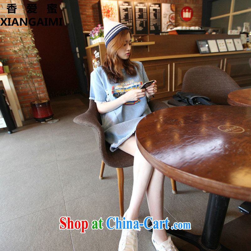 Hong Kong Honey Love larger ladies 2015 thick MM summer 200 Jack long, stamp duty solid denim shirt T-shirt girl picture color XXXL