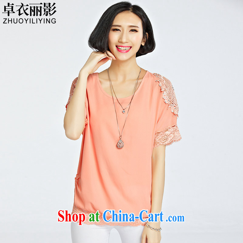 Cheuk-yan Yi Lai film 2015 summer new round-neck collar stylish lace lace bat sleeves loose the code female short-sleeved snow woven shirts T shirt T-shirt 1222 bare toner 4 XL recommendations 145 - 160 jack