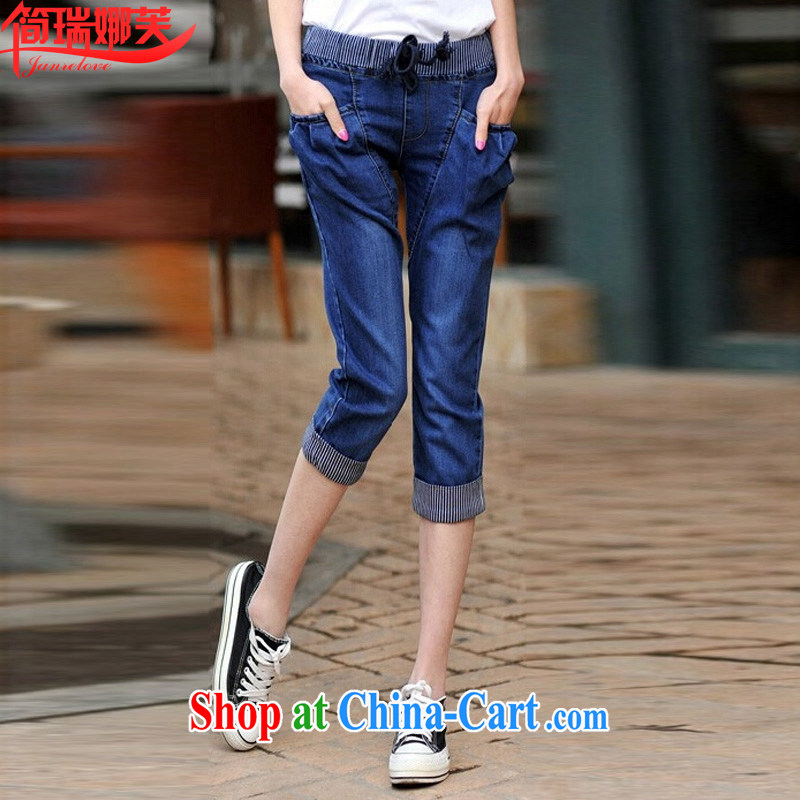 In short, the 2015 can be thick sister 200 Jack cowboy 7 pants summer new elasticated waist castor pants, trousers girls J 8178 blue 3 XL