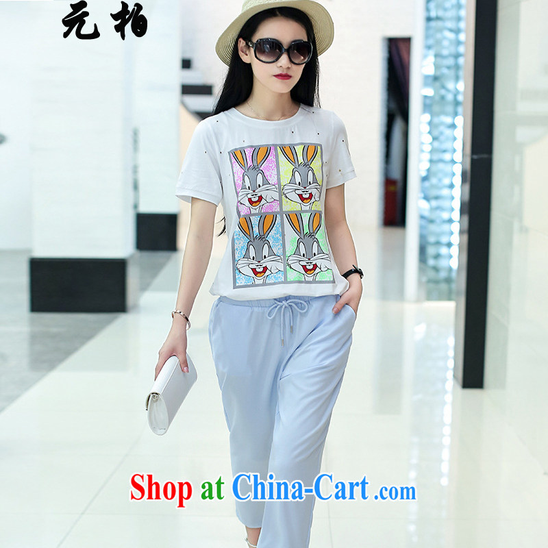 Yuan Bo summer new short-sleeved larger female loose video thin 200 Jack thick MM cotton Ma T shirt + pants white + light blue 1993 2 XL 135 - 145 about Jack
