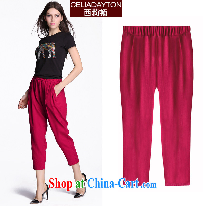 Szili Clinton the fat XL girls cotton Ma 9 pants summer 2015 mm thick sister new loose tight waist 9 pants girl pencil castor pants 200 Jack red 7 XL