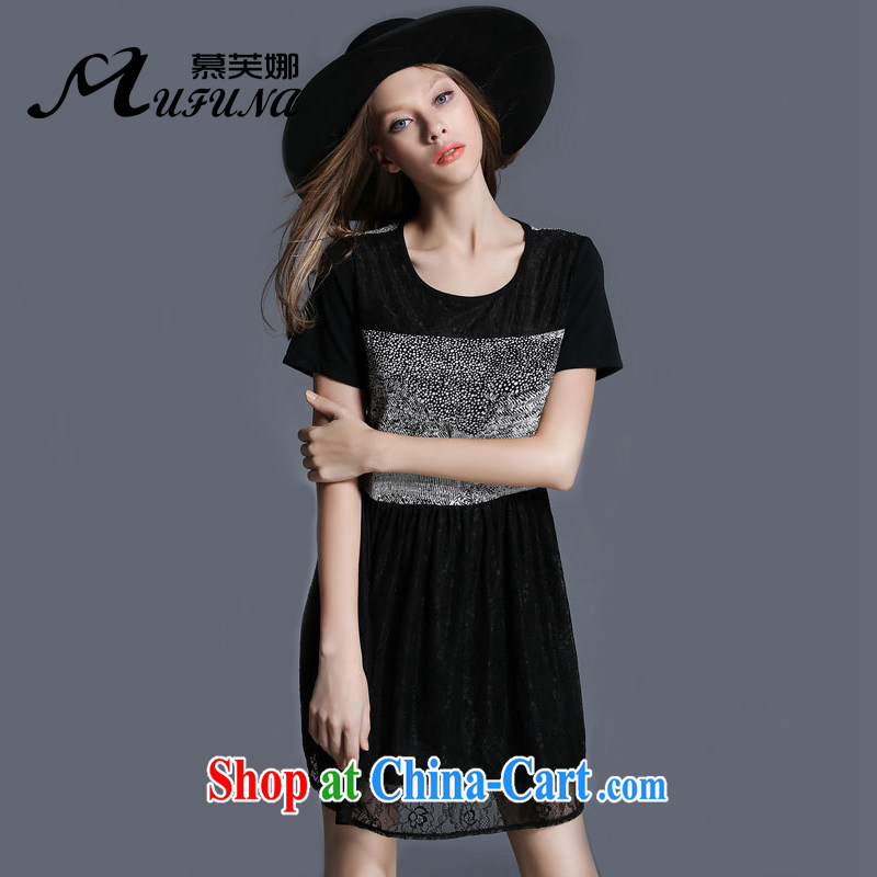 The Access 2015, focusing on the younger sister, female summer new stylish stitching cultivating graphics thin round-collar short-sleeve dress 1965 black XXXXL