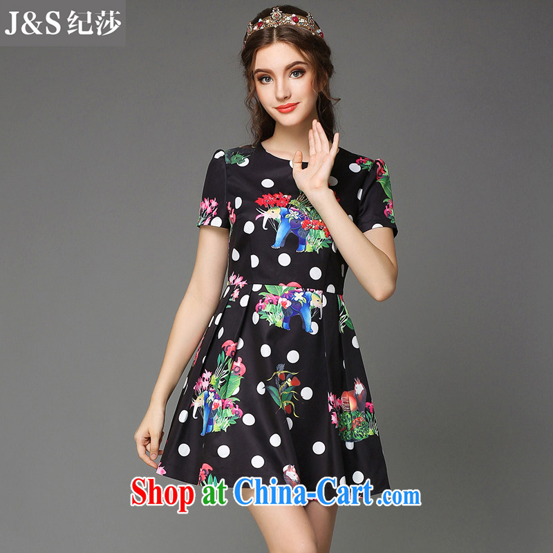 Elizabeth and 2015 summer new European and American thick sister thick mm larger women Beauty aura elephant take dress short-sleeved wave point skirt genuine Z 785 - Black 3XL