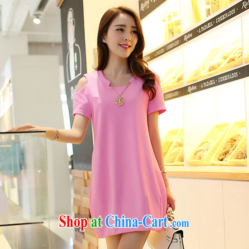 covered by snow in accordance with thick mm summer is the XL female Korean version of the new graphics thin beauty thick sister dresses pink XXXXL
