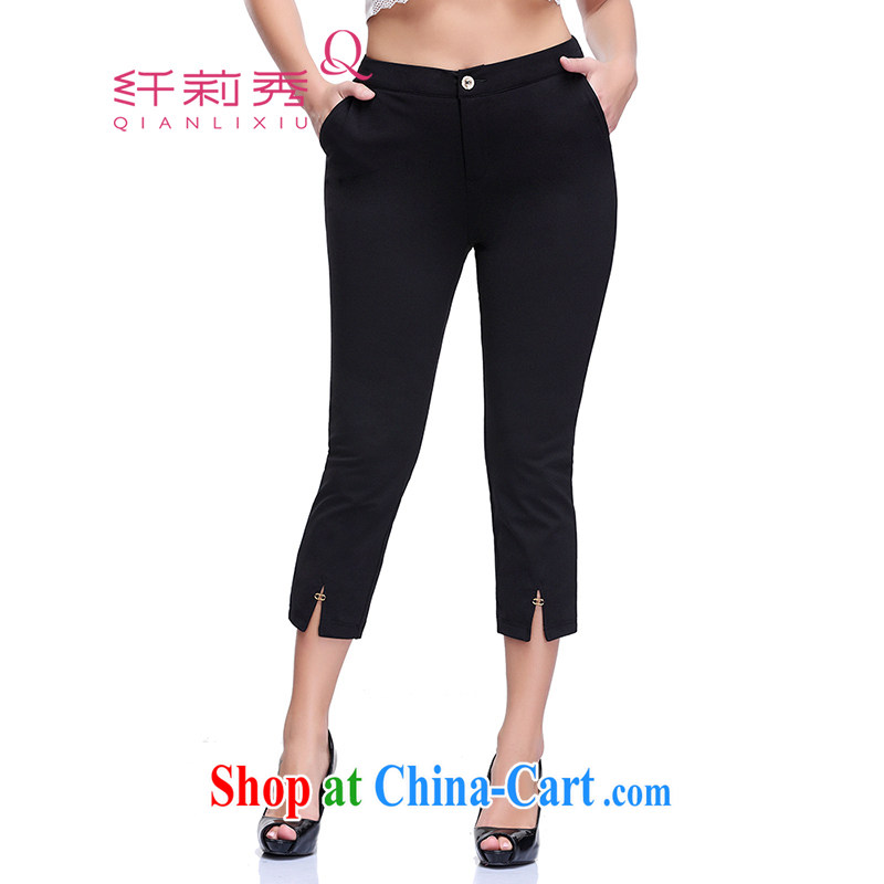 Slim LI Sau 2015 summer new larger female comfort waist stretch leisure video thin letters 8 pants Q 8359 black 33