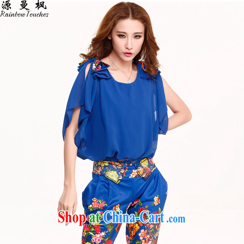 Source Manchester maple larger female 2015 summer new female short-sleeved stamp Harlan pants Leisure package two-piece YJ - NX 60,236 blue M