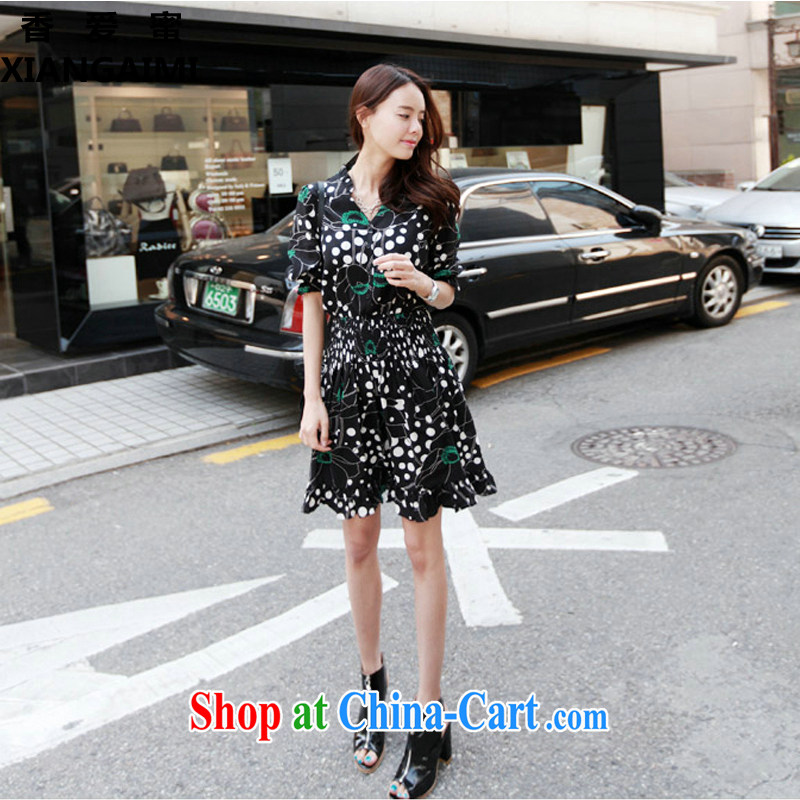 Hong Kong Love honey 2015 new summer the code stamp dress thick MM summer graphics thin bubble snow cuff woven dresses picture color XXXL