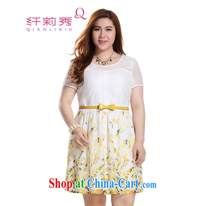 Slim LI Sau 2015 summer new, larger female fashion round collar lace spell the root yarn stamp dresses Q 8378 yellow 4 XL