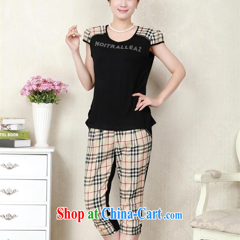 Middle-aged and older female summer short sleeve with middle-aged T shirt mom with two-piece T-shirt 40 - 507 pants thick mm larger sport and leisure women black XXXXXL