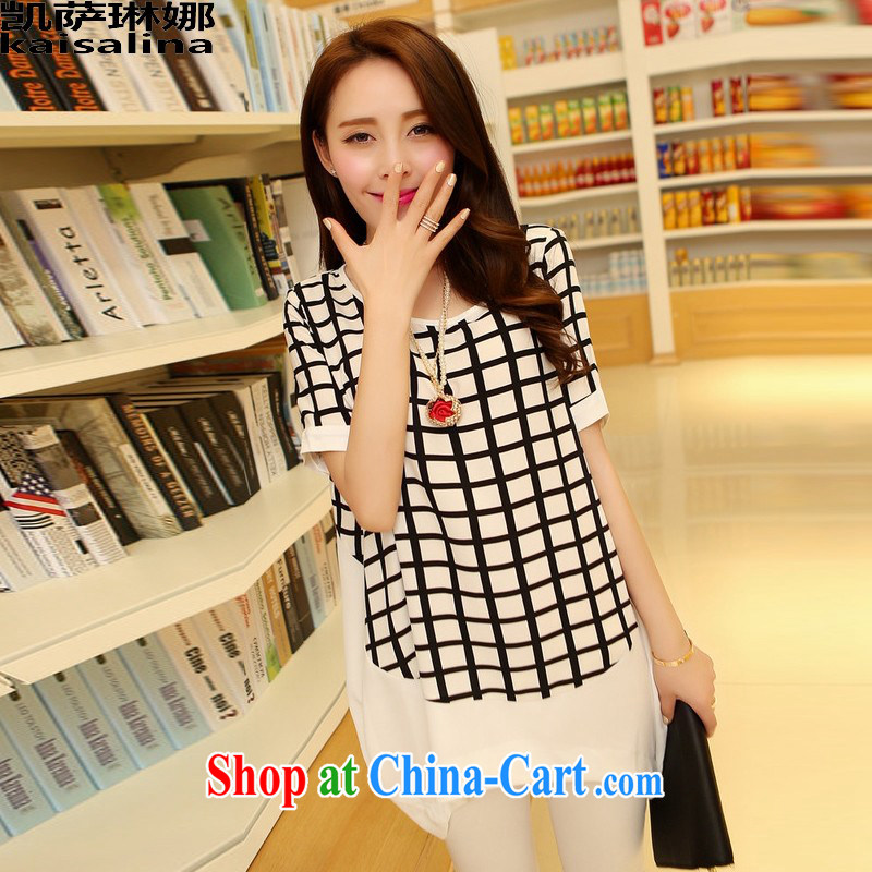 Catherine's 2015 Korean version 200 Jack thick mm larger female summer New Long graphics thin short-sleeve snow woven shirts girls summer black tartan XL