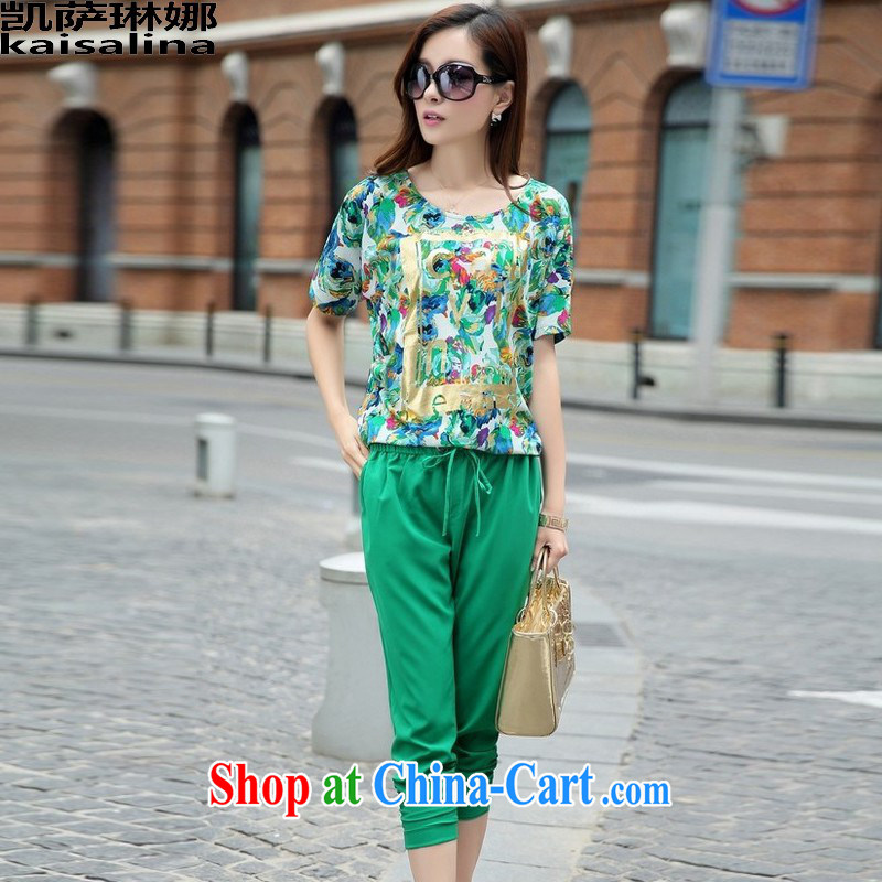 Catherine's 2015 summer new Korea and indeed increase code 200 Jack mm thick loose the code female short-sleeved T-shirt leisure package female Green XL