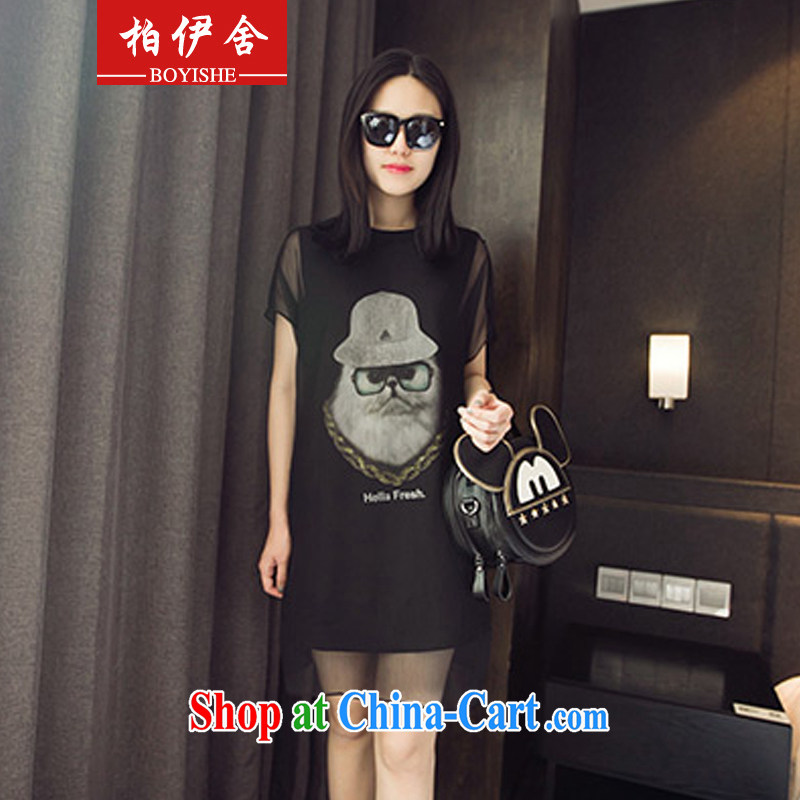 Park, building 2015 the code female summer 200 Jack mm thick owl yarn stitching graphics thin false Two-piece short sleeve dress 9330 black XXXXL