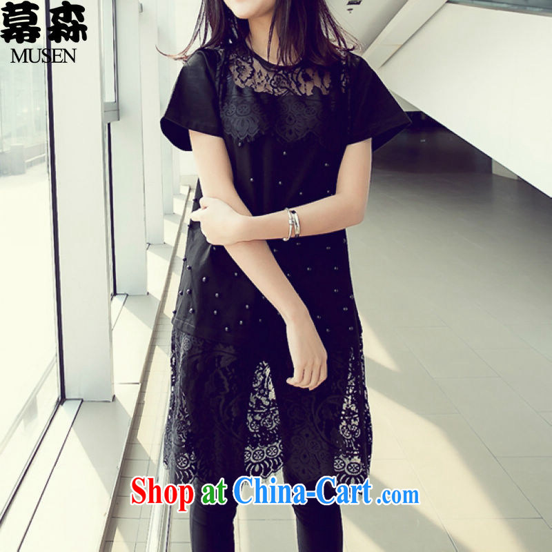 The sum 2015 female larger lace stitching graphics thin stylish dresses 200 jack to pass through the long black XXXL