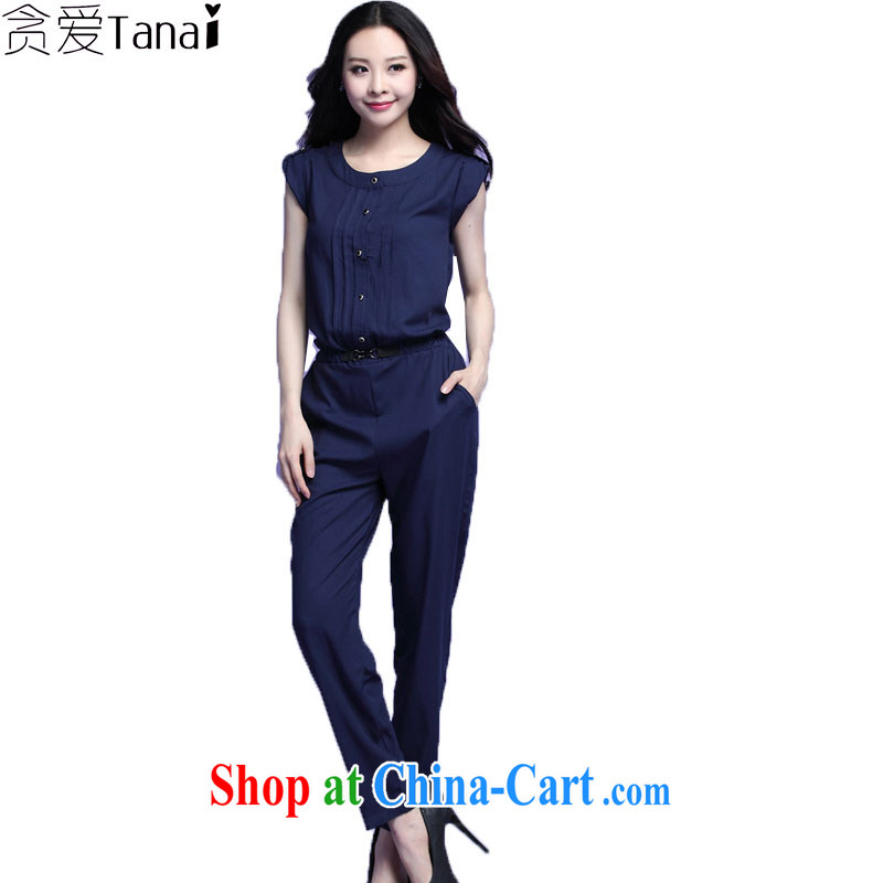loved the Code women with thick, summer new king, Korean version with leisure-trousers-trousers 3723 dark blue XXXXL