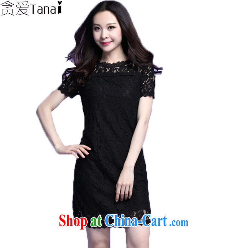 loved the code female thick sister summer stylish and elegant beauty graphics thin Openwork lace short-sleeved dress 3721 black XXXL