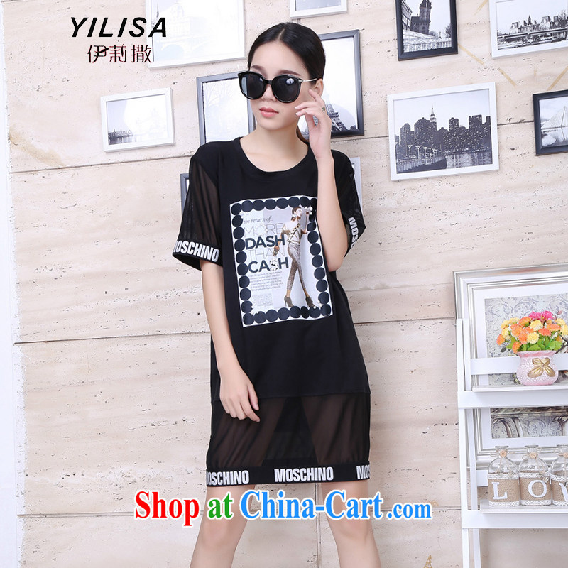 The YILISA indeed XL women summer mm thick graphics thin dresses 200 jack, long beauty figure loose solid dresses Y 9107 black XXL