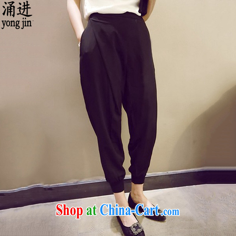 The 2015 summer new, loose the code female pants leisure 100 ground elasticated waist graphics thin, trousers and thick MM pants 2879 black 3 XL