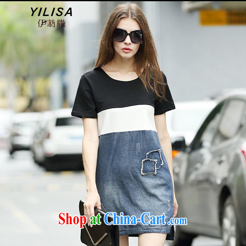 The YILISA Code women's clothing new denim dress thick MM summer 200 Jack short-sleeved spell series skirts and indeed intensify denim dress Y 9125 black XXXL