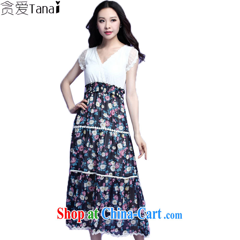Loved summer New, and indeed increase, female fat sister leave two lace snow woven floral beach-yi long skirt 3725 black 4XL