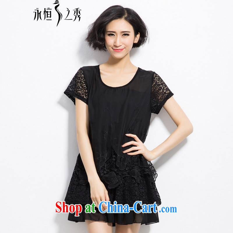 Eternal-soo and indeed increase, female dress thick sister summer, thick mm thick, graphics thin, Korean Modern Languages empty hook bud silk short-sleeved dresses black 4XL