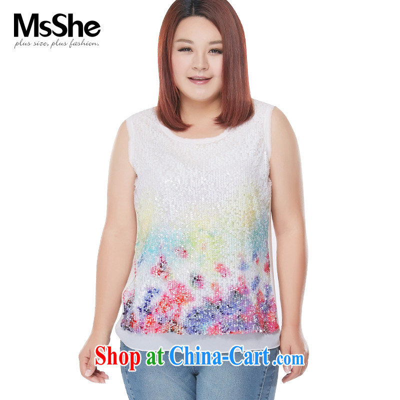 The MsShe indeed XL women 2015 new summer thick sister stamp stitching vest T pension 4657 white 3XL