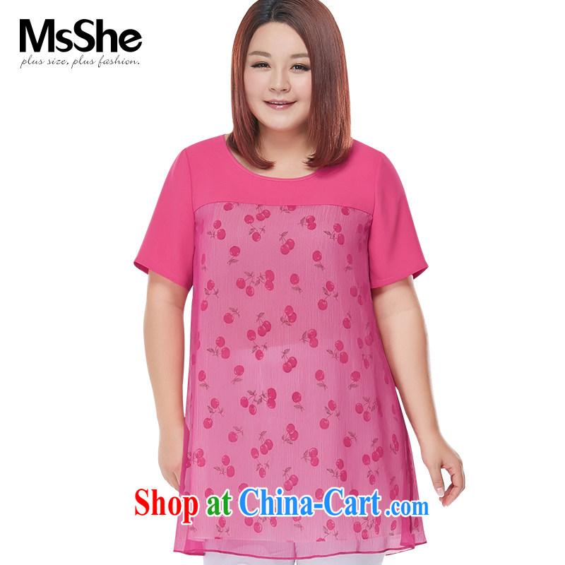MSSHE XL girls 2015 new summer thick MM wind stamp snow woven shirt short-sleeve, long, 4836 red 6 XL
