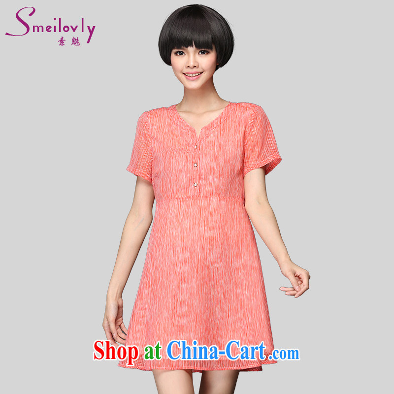 Of 200 Of The jack is indeed increasing, female summer new thick mm short-sleeve stripes graphics thin ice woven dresses 2900 big red code 4 180 XL about Jack