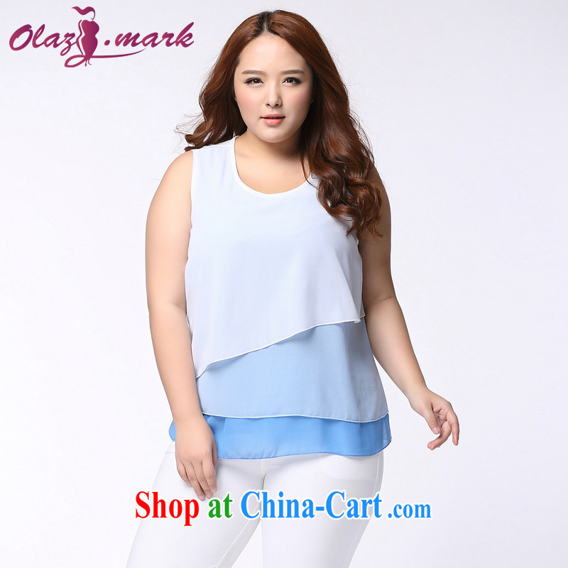 The Erez mark 2015 new emphasis on MM and indeed increase, female snow woven shirts summer short-sleeved shirt T 1137 blue 3 XL _recommended chest of 126 cm_