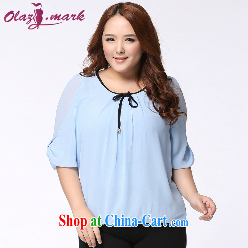The Erez mark XL girls summer wear new, short-sleeved snow woven shirts fat people dress loose video thin T-shirt 11 blue XXXL _recommended chest of 126 cm_