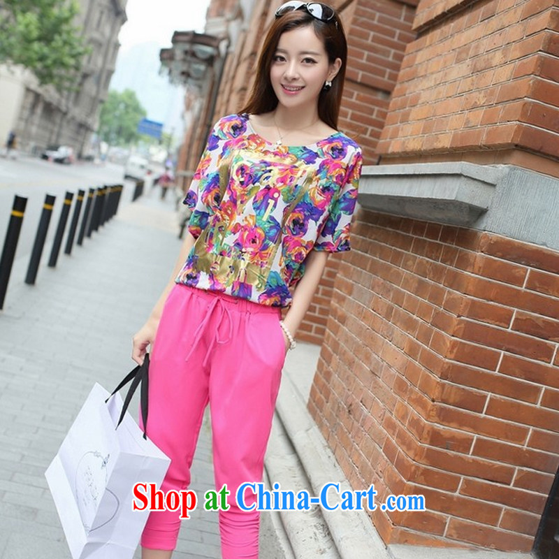 American economy Julia summer 2015 XL female short-sleeve T-shirt 200 Jack thick sister Korean version 7 pants Leisure package of red XXXL _160 - 180 _ jack