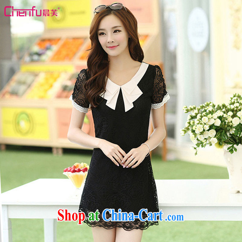 Morning would be 2015 summer New, and indeed increase, female Korean thick mm video thin doll collar lace short-sleeved dresses beauty knocked color lace dress black 4 XL