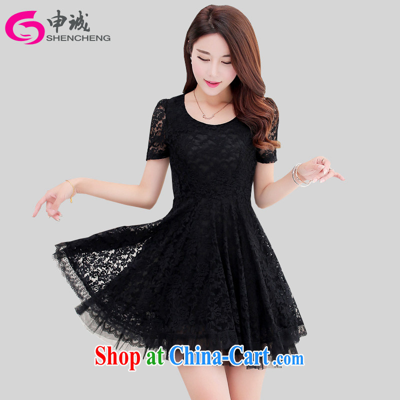 Shin Sung-and indeed increase, female lace dresses on 2015 mm Korean summer new thick sister graphics thin short-sleeve bubble cuff skirt 672 - 1 black 3 XL recommendations 160 - 180 jack