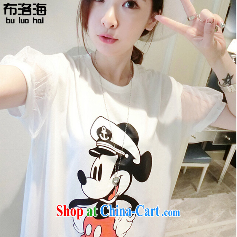 The sea 2015 summer new cotton Korean version relaxed thick MM cartoon stamp leisure Web yarn short-sleeved large code women dresses 9048 large white code are code