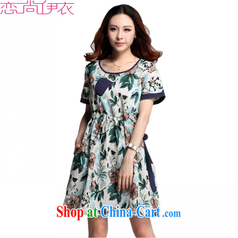 The package mail and indeed increase code 2015 new Korean version linen stamp arts loose the code short-sleeved dress suit the waist summer skirt green XXL approximately 140 - 160 jack