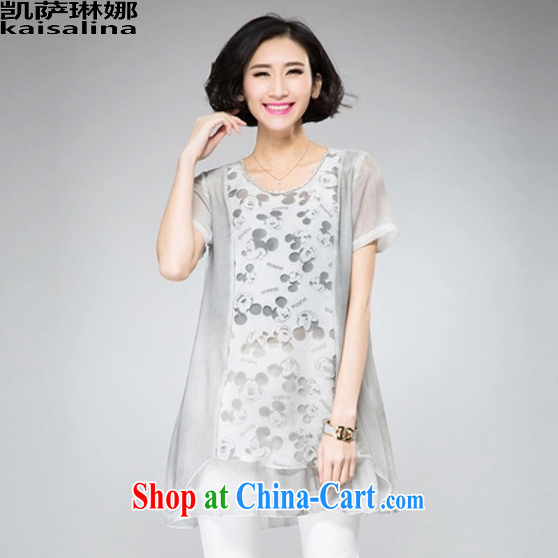 Catherine, summer 2015 new Korean version relaxed thick mm larger graphics Thin women in long european root yarn stitching short-sleeved snow woven shirts summer light gray XL