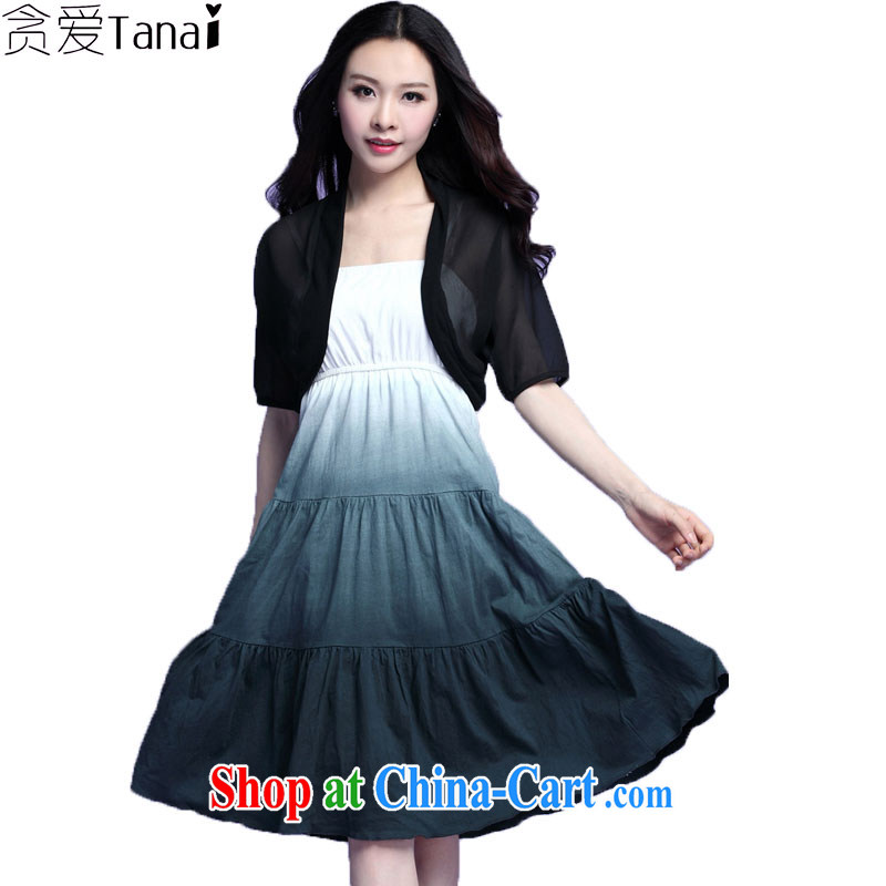 Loved summer new expertise, the waist graphics thin and thick XL girls snow jacket woven strap vest dresses really two 3728 black XXXL