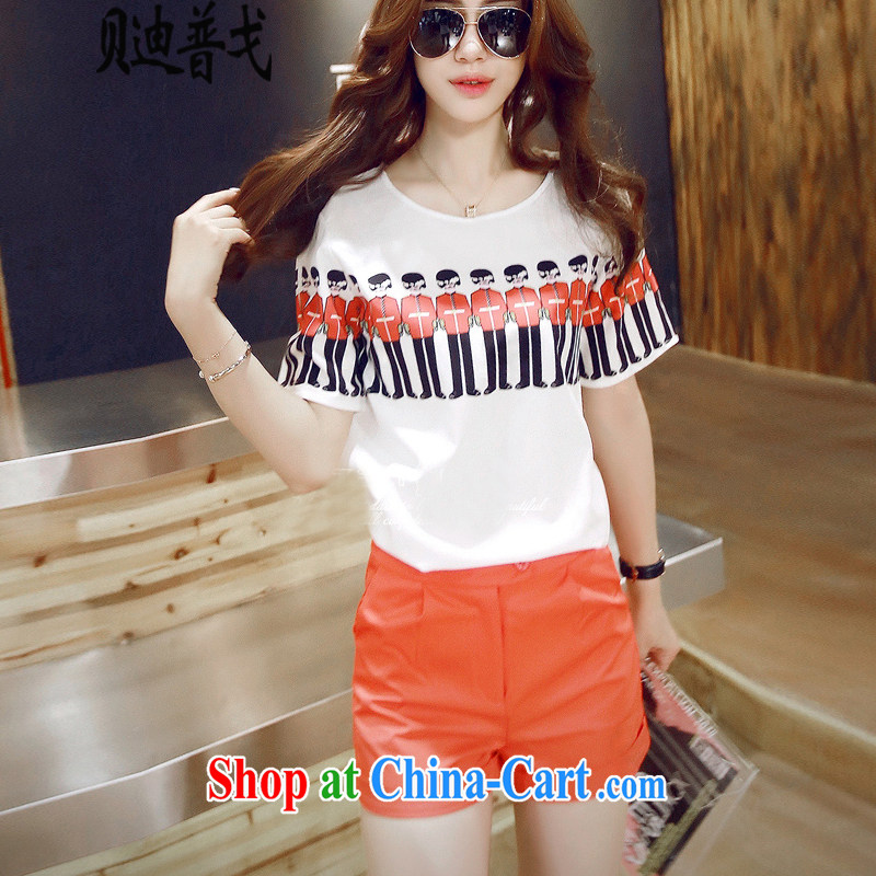 At Addis Ababa, the new Leisure summer short-sleeved larger female Two-piece stamp T shirt + shorts thick MM Package white + shorts 1540 XL 3 150 - 160 Jack left and right