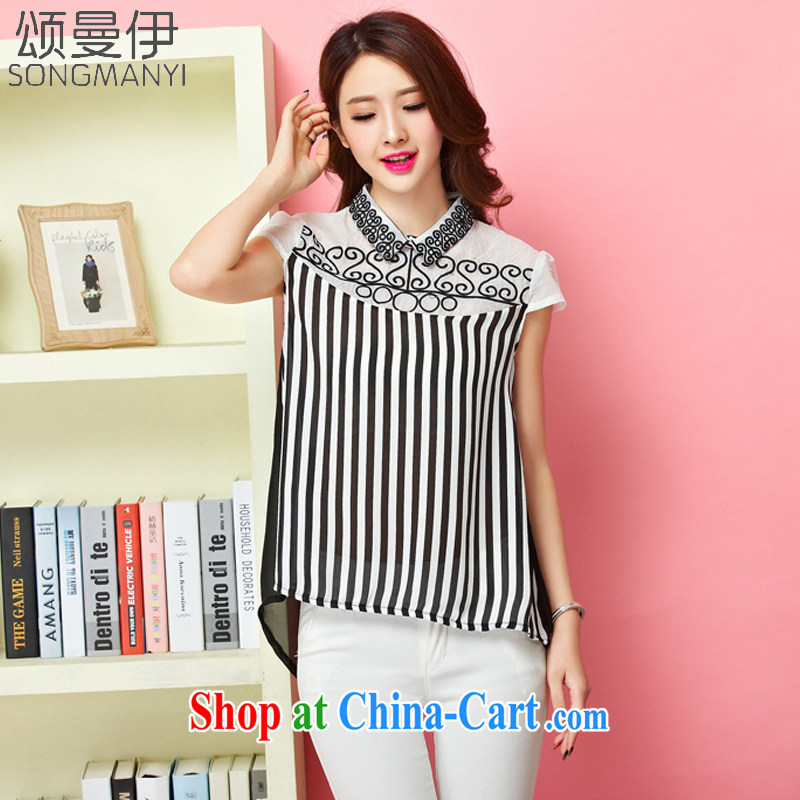Also, the 2015 summer new female embroidery loose the code snow woven shirts female small shirt summer short-sleeved snow woven shirts 8047 black-and-white striped XXXL