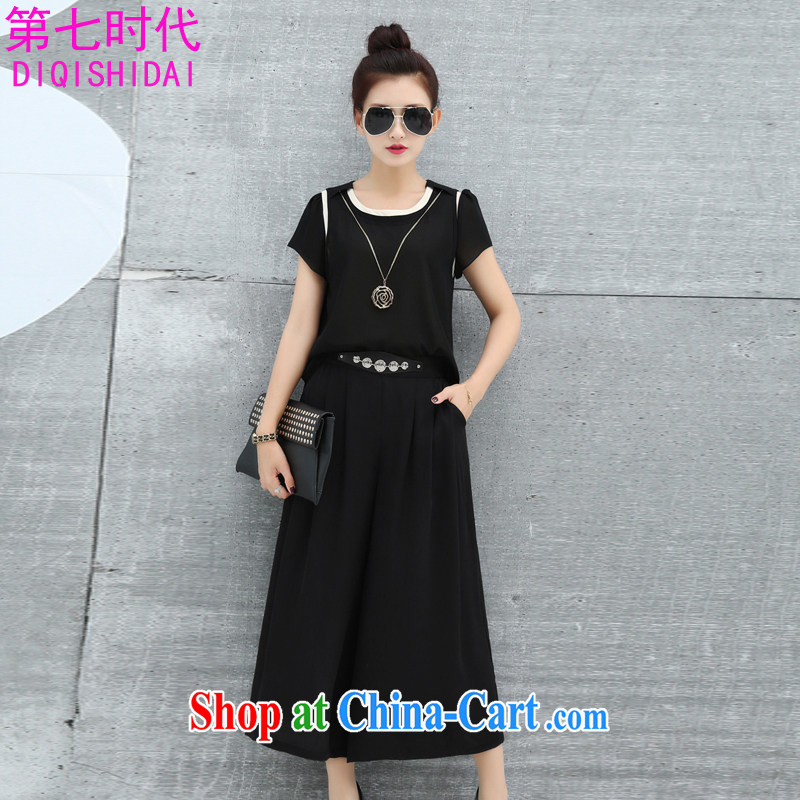The first 7 times larger female dresses summer 2015 new thick mm stylish stitching stamp snow woven loose video thin 5877 black 3 XL