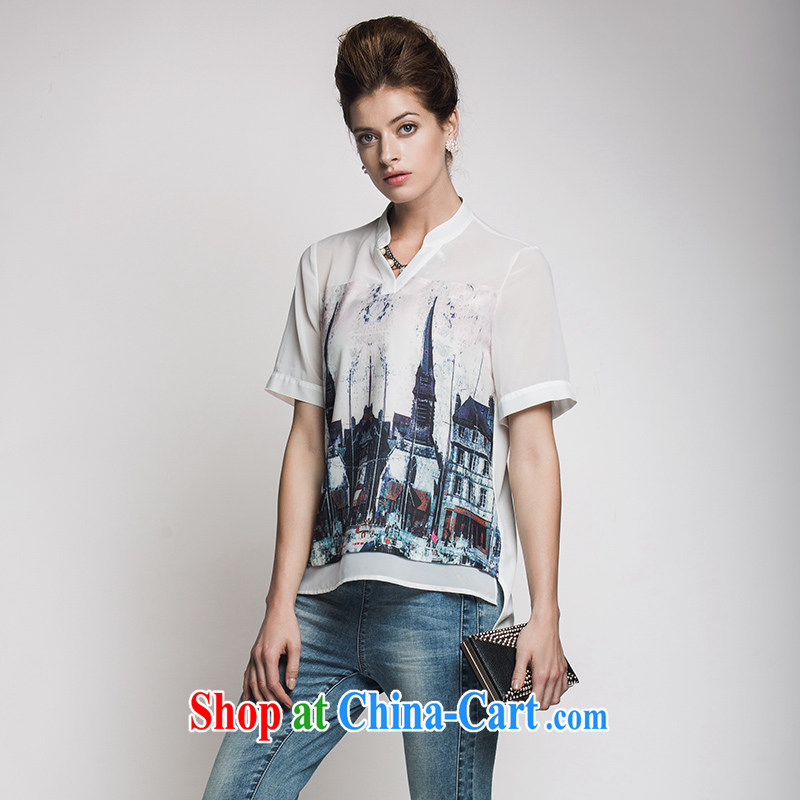 The Mak is the women's clothing 2015 summer new thick mm stylish V collar building stamp short sleeve T-shirt 952013251 white 3XL