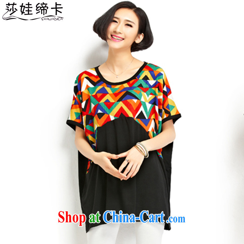 She concluded her a chubby women and indeed increase, female 200 Jack summer thick sister T-shirts female Korean short-sleeved, long, large T-shirt pure cotton thick mm black skirt all code 90 to 210 jack can be seen wearing