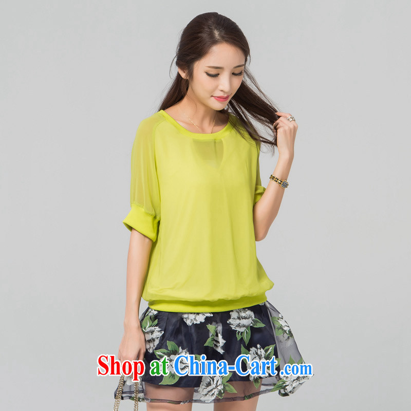 blue water the Code women 2015 summer new thick MM relaxed beauty round-collar short-sleeve snow woven shirts T shirts yellow large code XXL