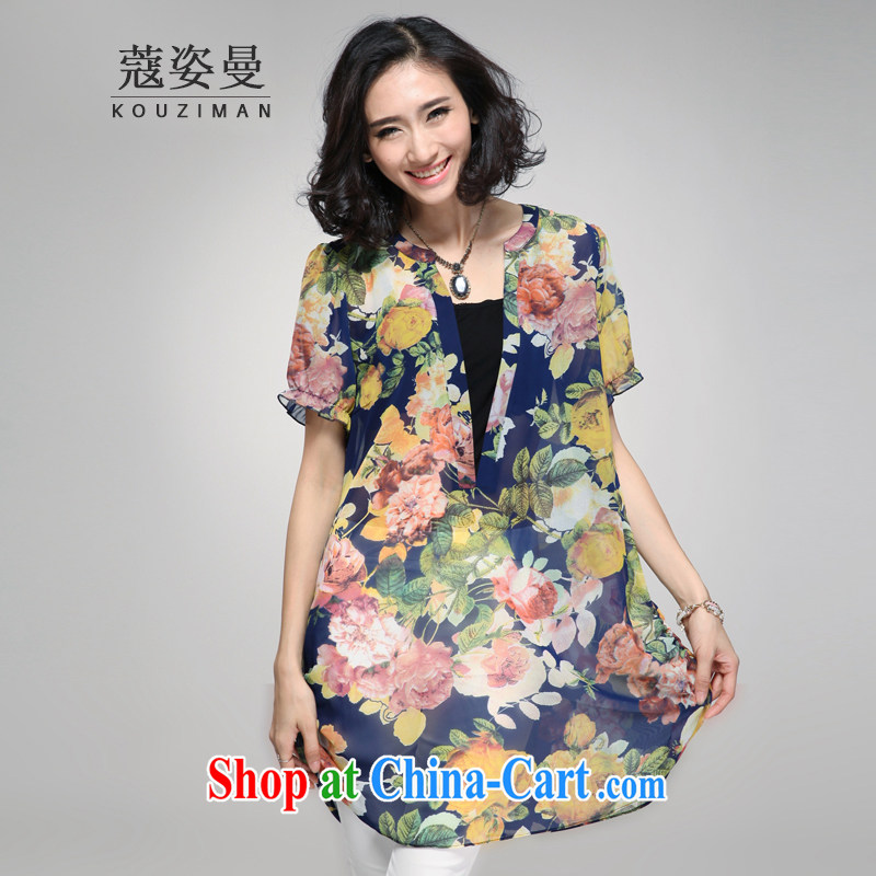 Courtney Cox and Cayman 2015 summer new XL Ladies Blouses leave two stylish shirt X 2167 blue 4 XL