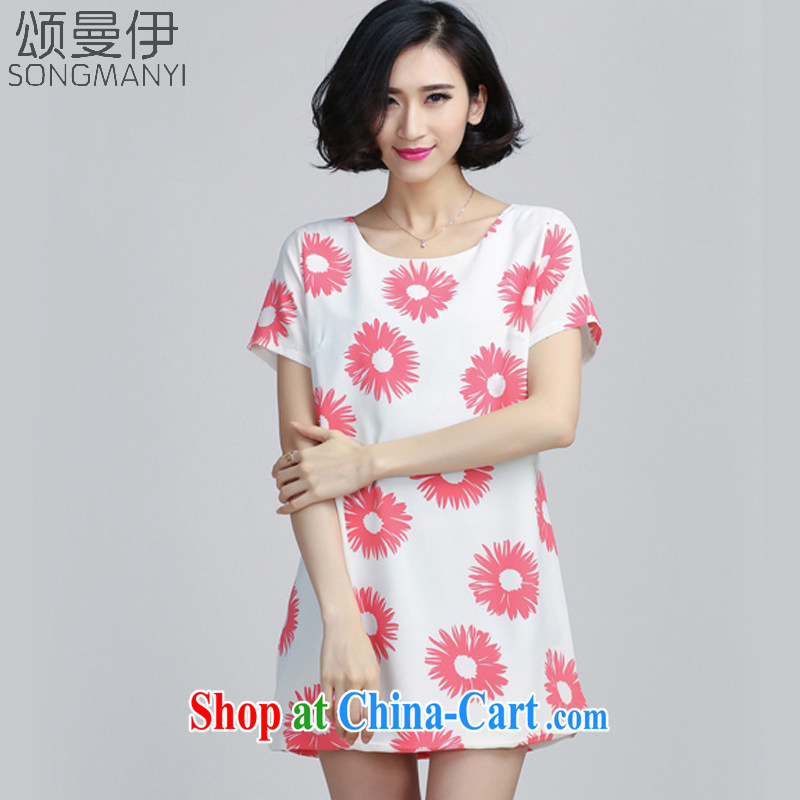 Also, the 2015 summer new summer the Code women MM thick snow stamp duty woven dresses 6035 pink XXXXXL