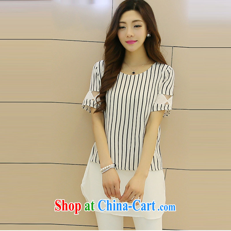 100 million new 2015 new Summer Snow woven shirts female short-sleeved Solid Color Korean loose the code t-shirt ladies picture color XXXL