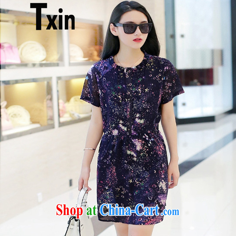 Txin Europe 2015 new, larger female and indeed graphics thin and loose stamp short-sleeved Korean version 100 snow ground woven dresses, long, summer 1777 dresses XXL 125 - 145 jack