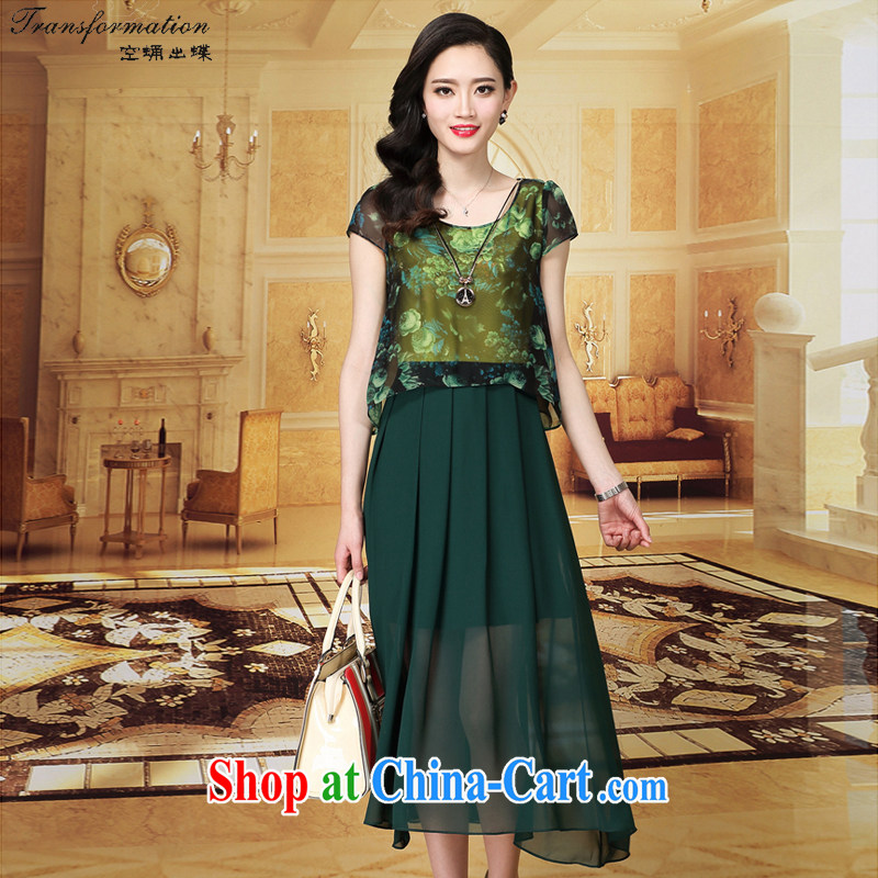 empty and the Butterfly 2015 summer new stamp snow woven shirts mom with long skirt the code female snow woven dresses K 329 green XXXL