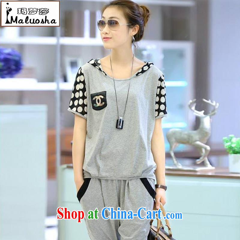 Kahlo's Princess Elizabeth's summer 2015 the code female Sport Kits women Korean short-sleeve casual loose two-piece summer gray XXXL