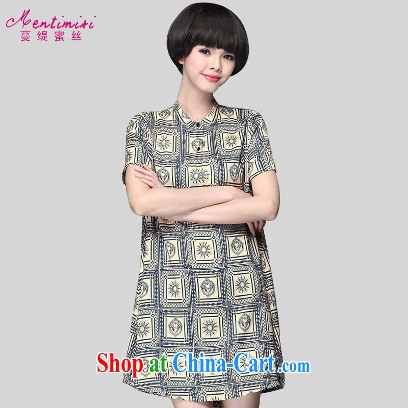 Mephidross economy honey, New, and indeed increase, female summer graphics thin stamp 200 Jack thick sister short-sleeved belt loose fit dress suit 2910 the code 5 XL 200 Jack left and right